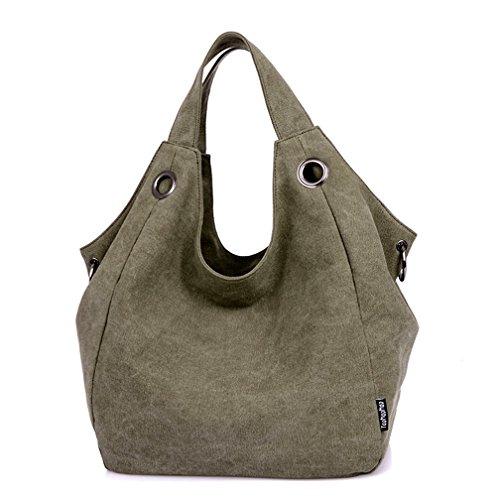 Green Canvas Tote Hobo Shoulder Tianhengyi Army Double Capacity Top Shopper Big Vintage Handbag Women's Handle Bag Zwtqg0B