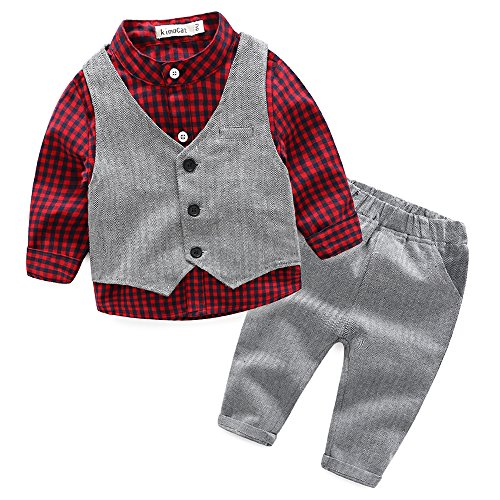 Ki Baby Clothes - Baby Boy Vest Set Plaid Suit Shirt Pants Bowtie Gentleman Toddler Clothes Outfit