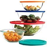 Paksh Novelty Pyrex Clear Glass Bowls with Lids (Set of 8)