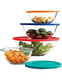 CheckOut Paksh / Pyrex Clear Glass Mixing Bowls With Lids | Glass Food Storage Containers | Dishwasher, Oven and Microwave... reviews