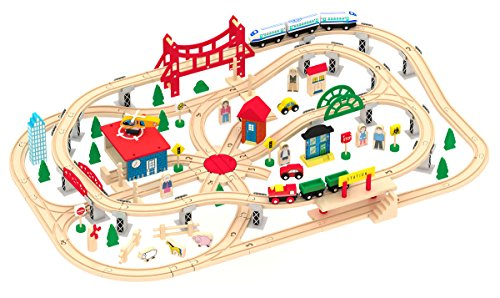 Deluxe Wooden Train Set - Wooden Train Set - Deluxe City Train Tracks Wooden Railway Track for Toddlers - 130 pcs