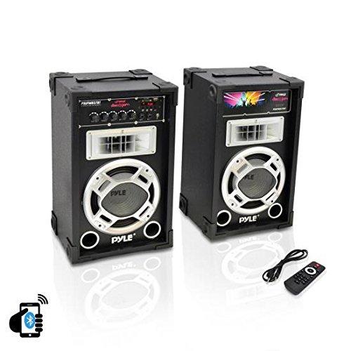 Pyle Dual 800 Watt Powered PA Bluetooth Speaker System Disco Jam Two-Way DJ Speakers   karaoke machine   USB/SD...