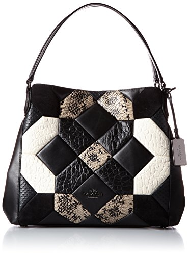 COACH Women's Canyon Quilt in Exotic Edie 31 Shoulder Bag Black/Chalk Handbag