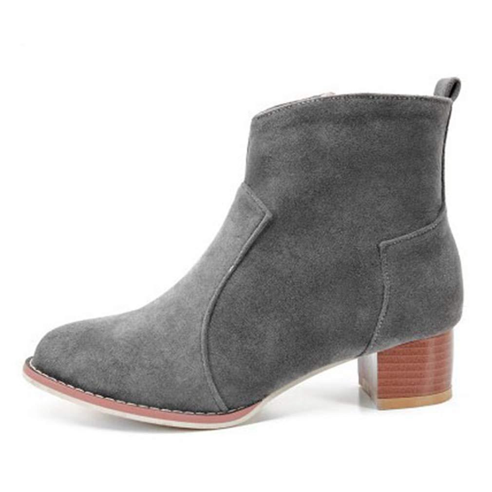 GIY Women's Retro Heel Chunky Mid Heel Retro Ankle Boots Suede Platform Bootie Stacked Heel Tassel Martin Short Boot B07HF8YTT6 Chelsea Boots 16b14c