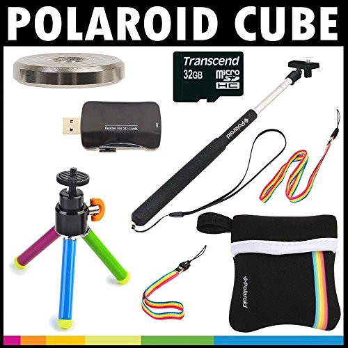 Polaroid Deluxe ESSENTIAL KIT For The Polaroid Cube, Cube+ Video Action Camera - Great Add On Package (Polaroid Cube Micro Sd Card)