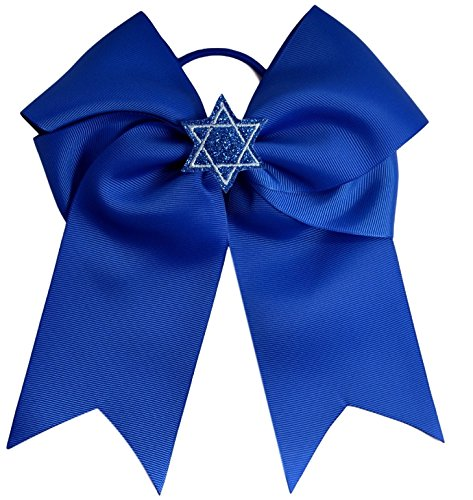 Hanukkah Glitter (Hanukkah Blue Star of David Glitter 7.5 Inch Hair Bow By Funny Girl Designs (Royal Blue Bow with)