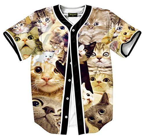 Pizoff Short Sleeve Beseball Team Jersey V-Neck Button Down Cute Cat Print T Shirts Y1724-80-M