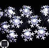 Inngree Solar String Lights 20 ft 30 LED Snowflake Waterproof Solar Christmas Fairy Lights for Outdoor Party Gardens Holiday Christmas Decorations(White,1Pack)