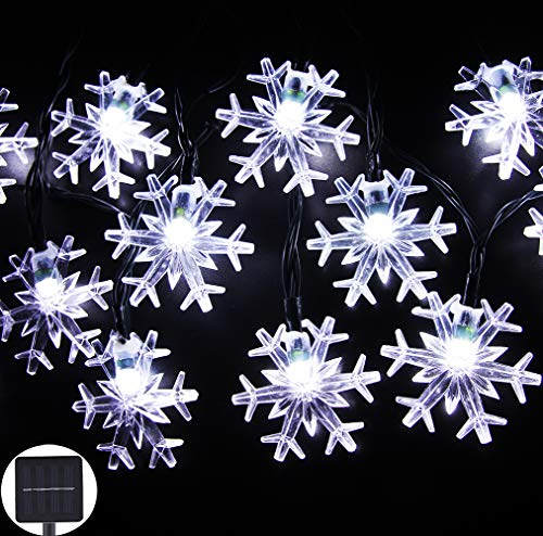 Inngree Solar String Lights 20 ft 30 LED Snowflake Waterproof Solar Christmas Fairy Lights for Outdoor Party Gardens Holiday Christmas Decorations(White,1Pack) for $<!--$17.99-->