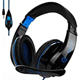 2017 New Updated Gaming Headphones,A9 3.5mm Stereo Sound Wired Professional Computer Gaming Headset with Microphone,Noise Isolating Volume Control for Pc/Mac/Ps4/Phone/Table(Black Blue)