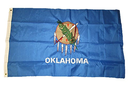 3×5 Embroidered Sewn State of Oklahoma 220D Solarmax Nylon Flag 3'x5′ w/ 2 clips For Sale