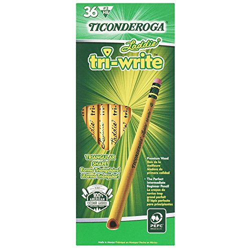 Pencils Black Wood (Ticonderoga Wood-Cased Laddie Tri-Write Pencils, #2 HB Soft, With Eraser, Yellow, 36 Count (13042))