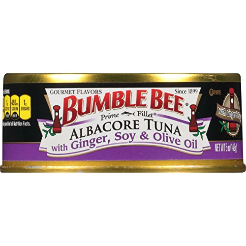BUMBLE BEE Prime Fillet Solid White Albacore Tuna in Olive Oil, Ginger and Soy, Canned Tuna Fish, High Protein Food, Keto, 5oz, 12 Cans