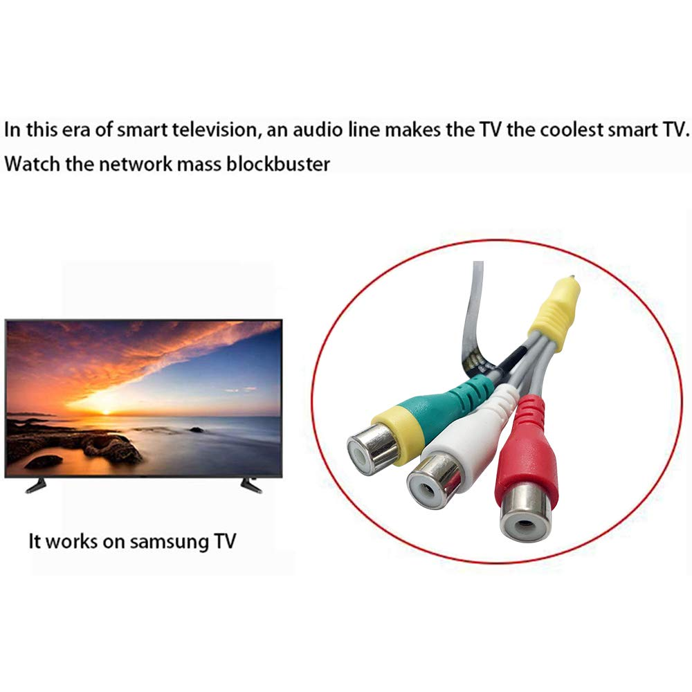 Replacement with for Samsung TV 3.5mm Composite Audio Video AV Cable Adapter 3 RCA CBF Signal Cable