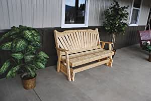 Classic Outdoor 5 Foot Fanback Porch Glider - STAINED- Amish Made USA -Cedar