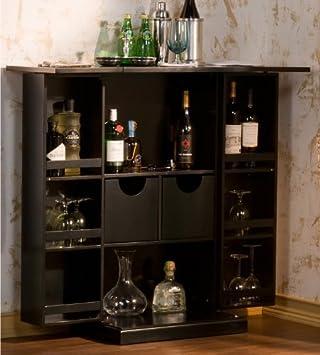 black folding wine liquor mini bar pub cabinet rack black mini bar