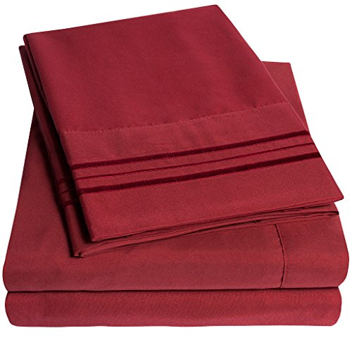 1500 Supreme Collection Extra Soft California King Sheets Set, Burgundy - Luxury Bed Sheets Set With Deep Pocket Wrinkle Free Hypoallergenic Bedding, Over 40 Colors, California King Size, Burgundy