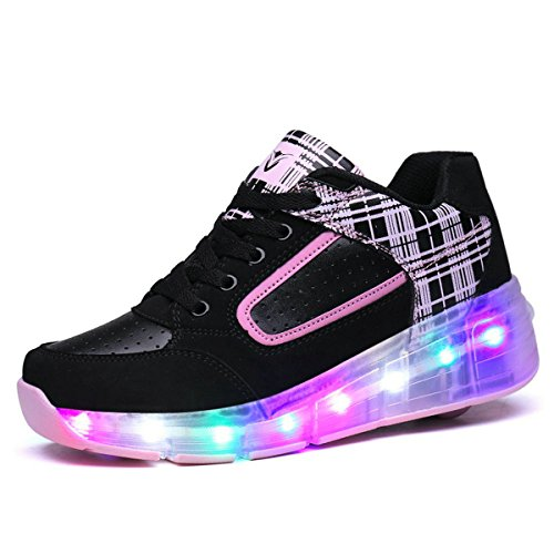 Boys Girls Rechargeable Light up Roller Shoes Wheeled LED Skate Sneakers White Silver Adult size by Chic Sources