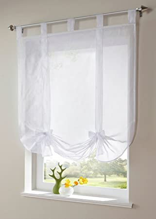 Uphome 1pcs Cute Bowknot Tie Up Roman Curtain   Tab Top Sheer Kitchen  Balloon Window