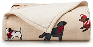 Christmas Christmas Dogs Home Plush Sherpa Cuddl Duds Throw Blanket 50 x 60 Reversible Warm Soft Cute Puppies