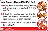 Nuts, Peanuts, Fish and Shellfish Allergy Translation Card - Translated in Thai or any of 30 languages