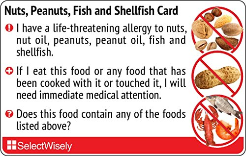 Nuts, Peanuts, Fish and Shellfish Allergy Translation Card - Translated in Thai or any of 30 languages by SelectWisely
