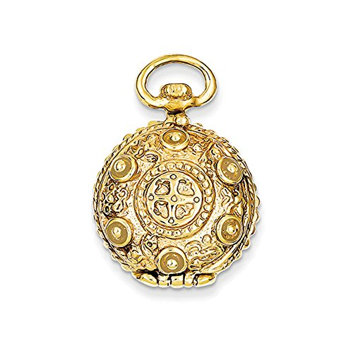 14k Yellow Gold 20mm Reversible Round Vintage Style Locket 14k Yellow Gold Pocket