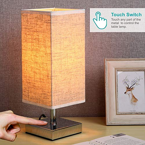 ZEEFO Touch Control Sensor Table Lamp, Simple Design Bedside Table Lamp with Touch Function, Sliver Base and Fabric Shade Desk Lamp is Perfect for Bedroom, Living Room, Guest Room, Office (Square)