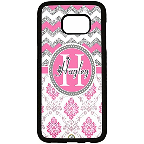 Galaxy S7 Edge Case, ArtsyCase Pink Silver Chevron Grey Damask Monogram Personalized Heart Name Phone Case - Samsung Sales