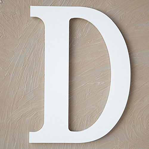 "The Lucky Clover Trading LBL14TW-D D Wood Block, 14"" L, White Wall Letter,"