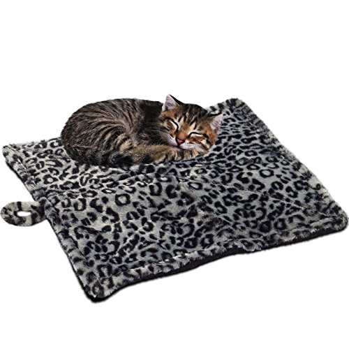 Paws & Pals Thermal Cat Self Warming Bed 20″ x 17.5″ – Mat for Pets Dog Kittens Puppy – Grey White Black Leopard Print