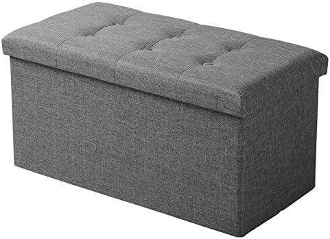 WOLTU Sitzhocker mit Stauraum Sitzbank Faltbar Truhen Aufbewahrungsbox,  Deckel Abnehmbar, Gepolsterte Sitzfläche aus Leinen, 76x37,5x38 cm, ...