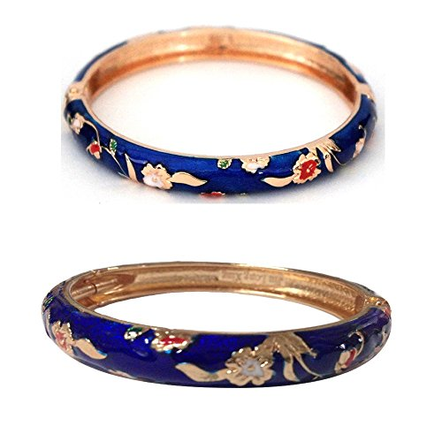 UJOY Bracelets Colorful Enameled Cloisonne Jewelry Gold Cuff Hinged Handcrafted Bangle Sets Packed in Gift Box 55A111-B31 Floral Blue ()