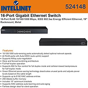Intellinet 524148 16 Port Gigabit Rack-Mount Ethernet Switch Electronics Computers Accessories