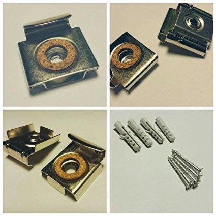 Ideal f/ür Plexiglas 12-teiliges SET Alu-Dibond Bilder Spiegelklammer-SET PRIME Spiegelbefestigung Spiegel