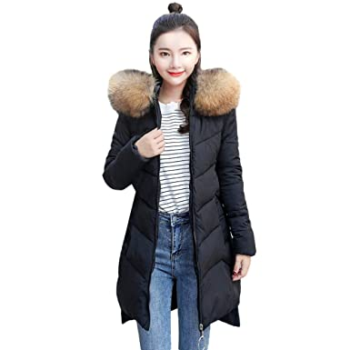 SOMESUN Warm Overcoats Zipper Hooded Tops Women Outerwear Fur Hooded Coat  Long Cotton-Padded Zipper d806e205513