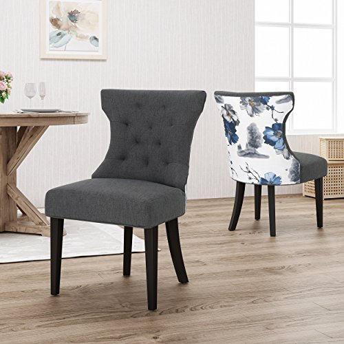 Louis Traditional Two Toned Fabric Dining Chair, Dark Gray and Floral (Louis Dining Chairs)