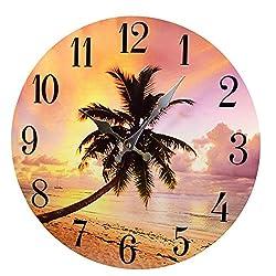 Palm Tree Sunset Wood Wall ClockNew 13X 13 Home Wall Decor Coastal Beach