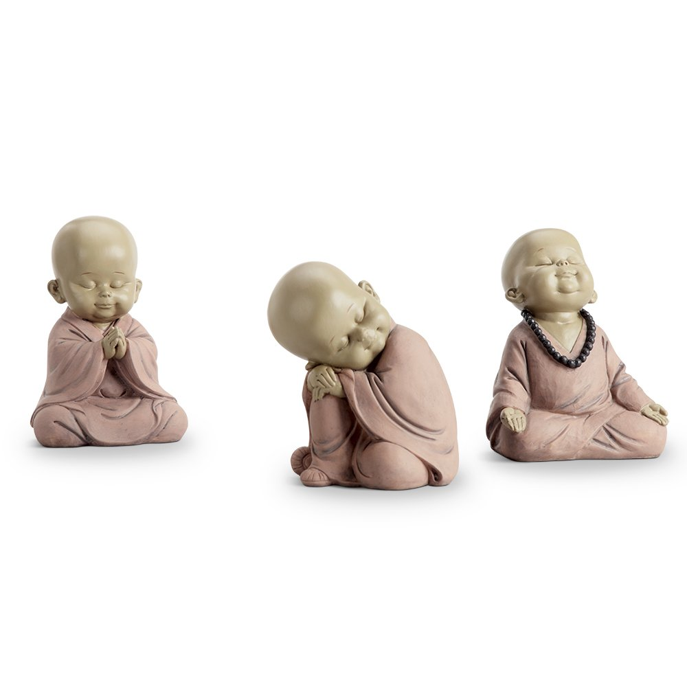 Sitting Buddhist Monks Set of 3