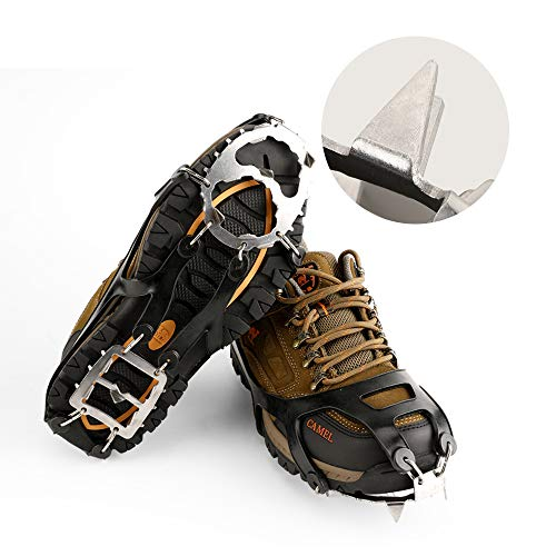 Cosyzone Traction Cleats Micro Ice Spikes for Shoe/Boots Safe for Walking, Jogging, Climbing and Hiking-Orange (L) (Ice The Slip On)