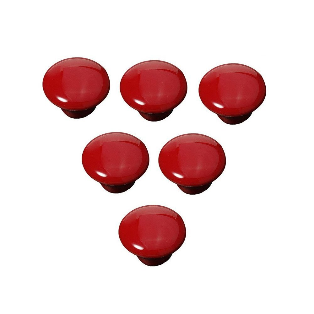 FatColo(TM) Ceramic Porcelain china Vintage Round Style Bedroom Door Cabinet Cupboard Drawer Knob Pull Handle (Button shape / Red / Pack of 6)