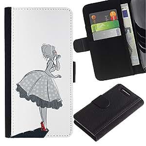 Planetar® Modelo colorido cuero carpeta tirón caso cubierta piel Holster Funda protección Sony Xperia Z1 Compact D5503 ( Southern Bell Girl Woman Black White )