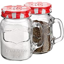 Set of 2 Clear Glass Mason Jars Salt and Pepper Shakers with Handles ~ 4.45-oz Spices Canisters with Screw-on Gingham Stainless Steel Lids
