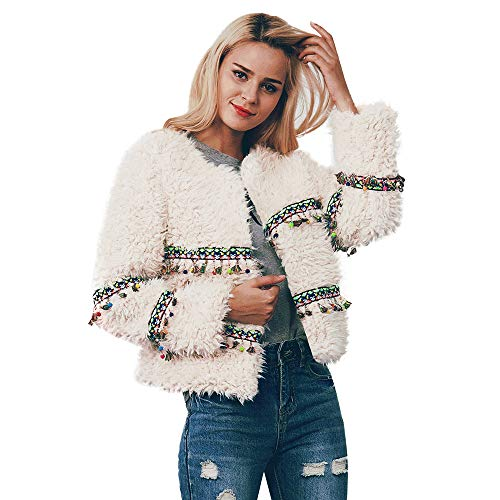 Simayixx Women Faux Fur Coats Cardigan Plus Size Women's Casual Retro Thick Zip Short Outwear Parka Outerwear Clothes -