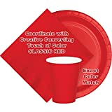"""Creative Converting School Spirit Border Print Plastic Tablecover for Graduation Party, 54"""" x 102"""", Classic Red"""