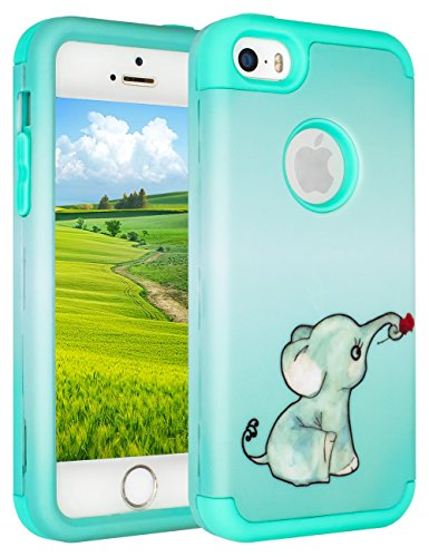 iPhone SE Case,iPhone 5S Case,iPhone 5C Case,SLMY(TM)Lovely Elephant Heavy Duty High Impact Armor Case Cover Protective Case for Apple iPhone 5 5S 5C SE Cute Green