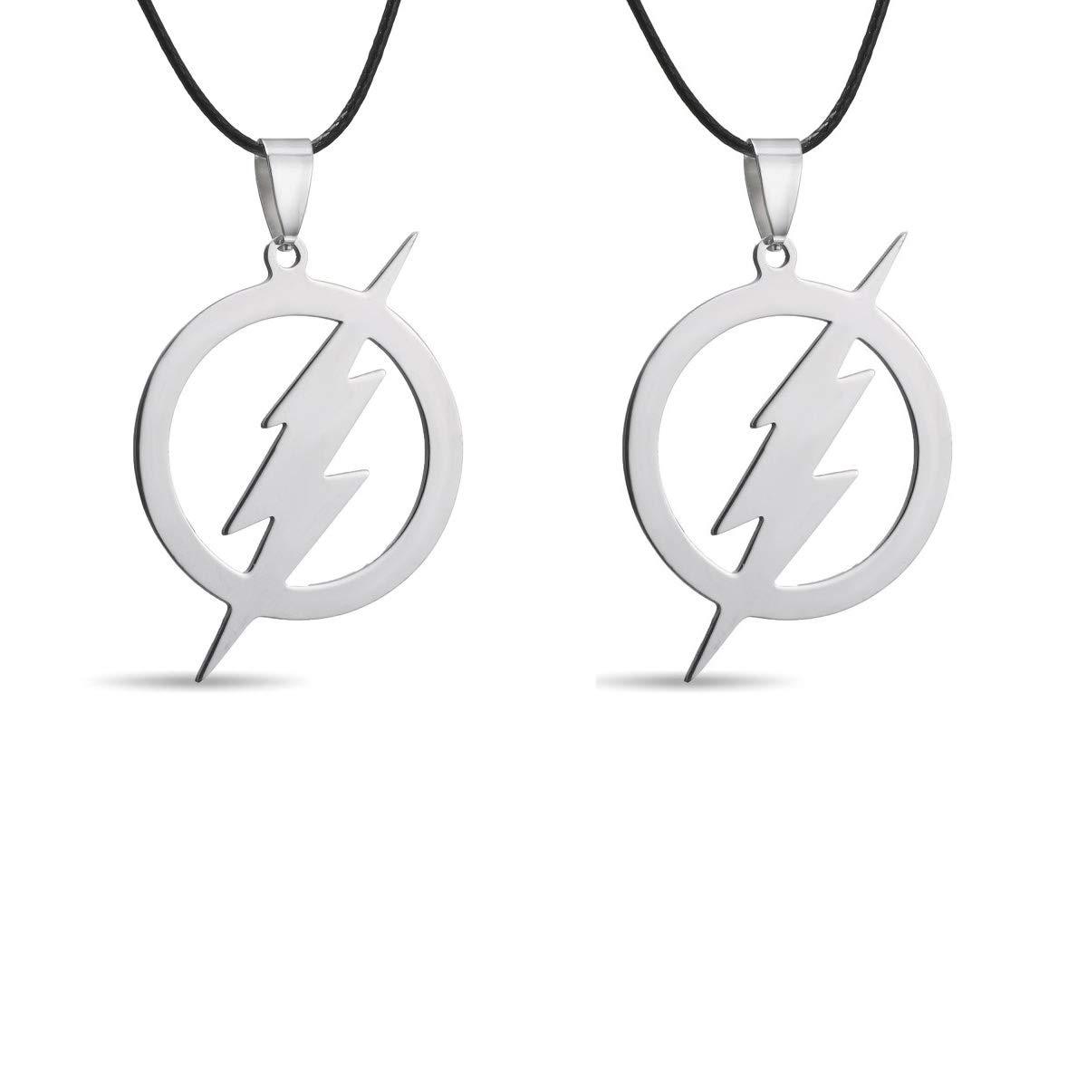 Rinhoo Stainless Steel Superhero Flash Lightning Pendant Necklace for Men boy Girls Gift Rinhoo-480