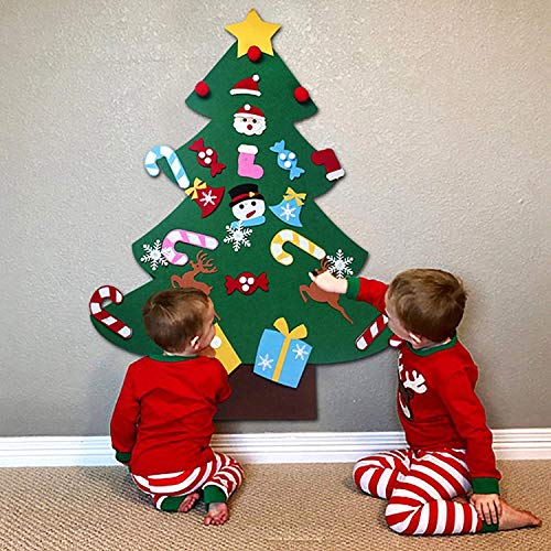 TTMOW DIY Felt Christmas Tree Set Handmade with 26pcs oranments 3Ft,Best Chirstmas Gift for Kids Christmas Decorations.
