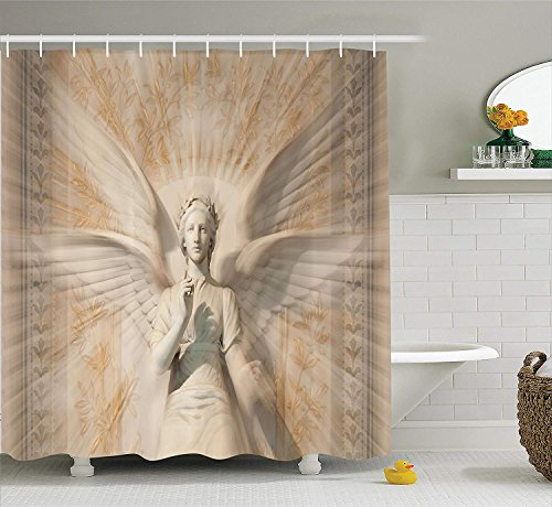 GOOESING Sculptures Shower Curtain Statue of Angel Woman in Medieval Cathedral Site Vintage Style Mythical Design Fabric Bathroom Decor Set with Hooks Yellow ()