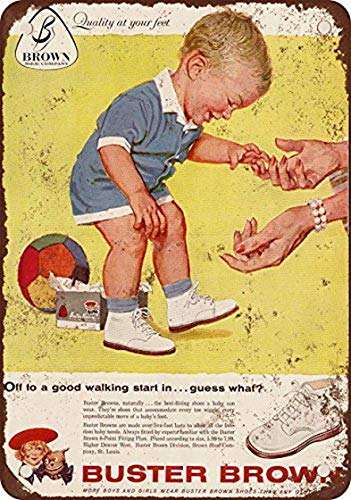 Houseuse 1959 Buster Brown Baby Shoes Vintage Look Reproduction Metal Tin Sign 12X16 Inches (Vintage Reproduction Shoes)